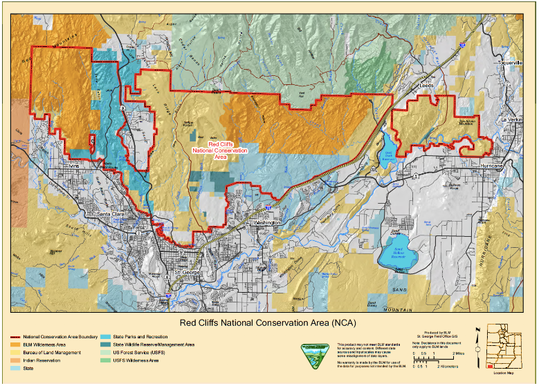 A map of the Red Cliffs National Conservation Area from the complaint.