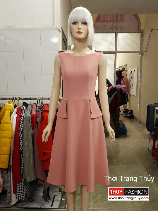 Váy xòe công sở vạt peplum kiểu sát nách V501 tại Hải Phòng