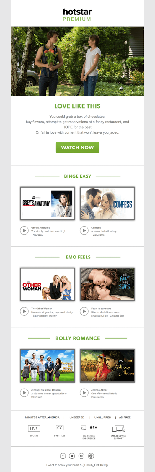hotstar ran an occasion-based email campaign