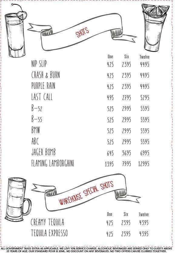 Warehouse Cafe menu 5