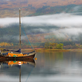 Sail Sale by Neil O'Connell - Transportation Boats ( water, scotland, reflection, autumn, sailing, morning, highlands, loch leven, boat, mist )