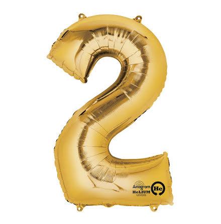 Folieballong, siffra 2 guld 86 cm