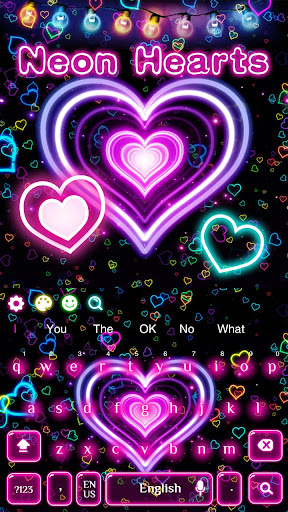3D Neon Hearts Keyboard 10001004 screenshots 3