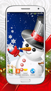 Cute Snowman Live Wallpaper HD screenshot 0