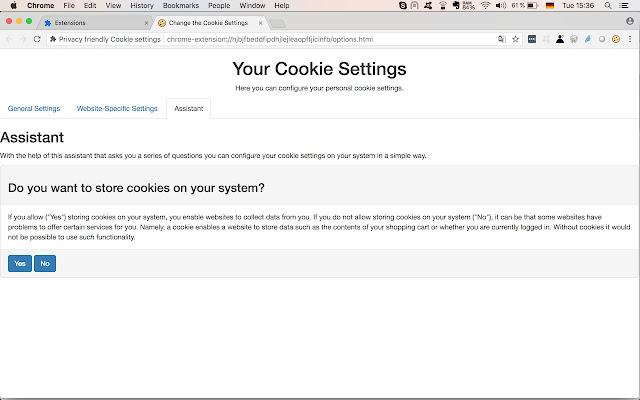 Privacy friendly Cookie settings