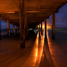 Blinded by the Light by AJ Schroetlin - Buildings & Architecture Bridges & Suspended Structures ( water, color, shadow, pier, light, hawaii )