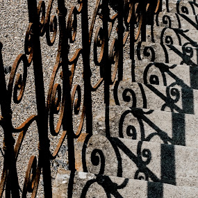 Iron Railings on steps by Doug Faraday-Reeves - Buildings & Architecture Architectural Detail ( wrought, shadow, iron, steps )
