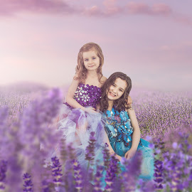 Lavender sisters by Jenny Hammer - Babies & Children Child Portraits ( spring, pretty, girls, sisters, lavender )