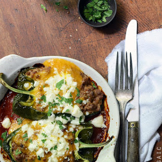 Cheesy Beef-Stuffed Poblano Peppers with Easy Roasted Tomato Chili Sauce {Freezer-Friendly}.