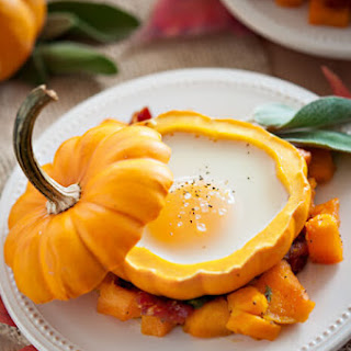 Eggs in Mini Pumpkins with Roasted Squash and Bacon Hash