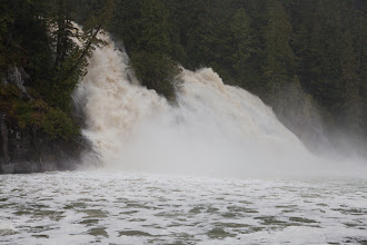 Photo: The torrential rain caused the waterfalls to really take off.  This one is exploding down the slope.