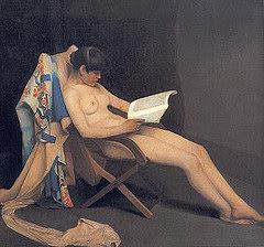 Cuadro de mujer leyendo.- Benjamín Domínguez