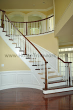 Photo: (After) Young's Curved stairs wainscot Warminster, PA