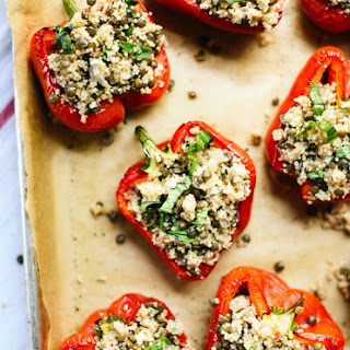 Lentil & Couscous Stuffed Peppers.