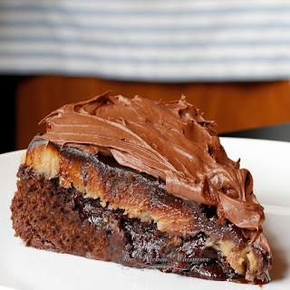Brownie Peanut Butter Cup Fudgy Ganache Cake Recipe