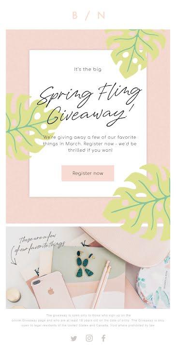 Spring Fling Giveaway - Medium Email Template