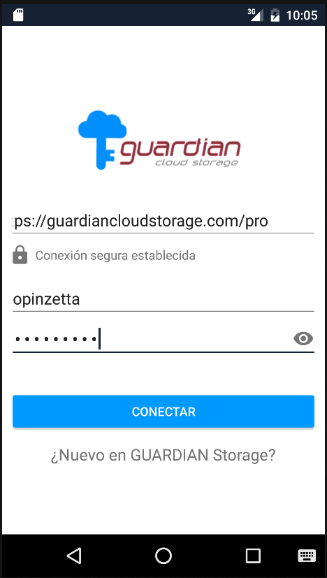 GUARDIAN Cloud Storage: captura de pantalla