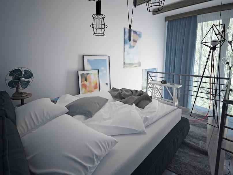 Sypialnia w salonie na antresoli