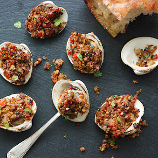 Spanish-Style Baked Stuffed Clams.