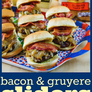 Bacon & Gruyere Sliders with Beer Caramelized Onions.