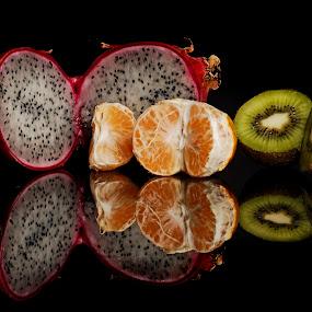 Exotic Fruits by Cristobal Garciaferro Rubio - Food & Drink Fruits & Vegetables ( exotic fruits, reflection, organge mandarin, kiwi, tangerine, pitahaya, exotic )