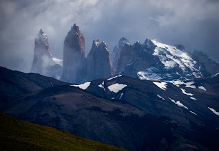 """Photo: Torres del Paine (""""towers of blue""""), approaching storm"""
