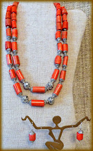 Photo: #164 ROYAL LEGACY ~ КНЯЖИЙ СПАДОК Coral, sterling silver, silver plate (with extender) $210/set SOLD