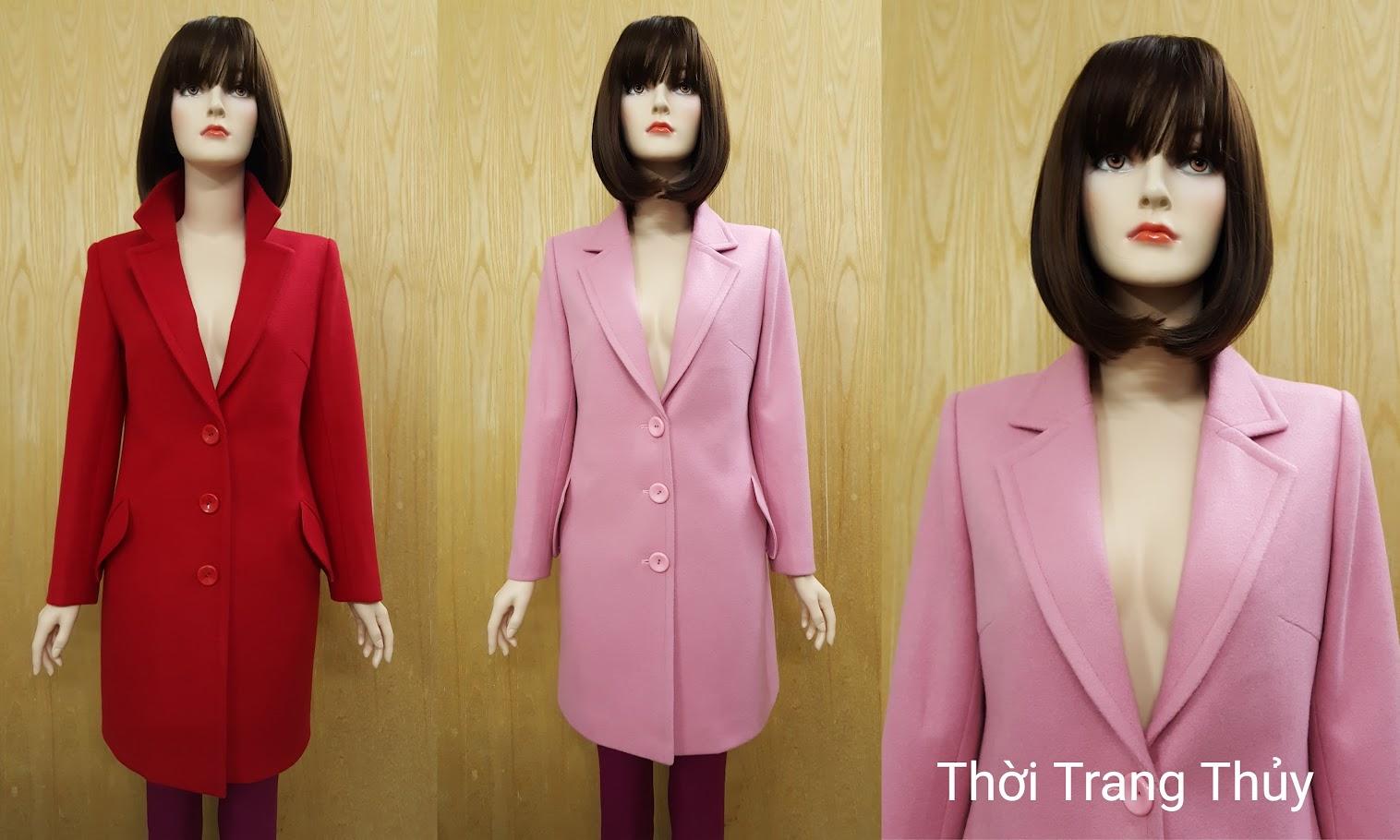 Áo dạ nữ dáng dài cổ vest với ba hàng cúc V490 Hải Phòng