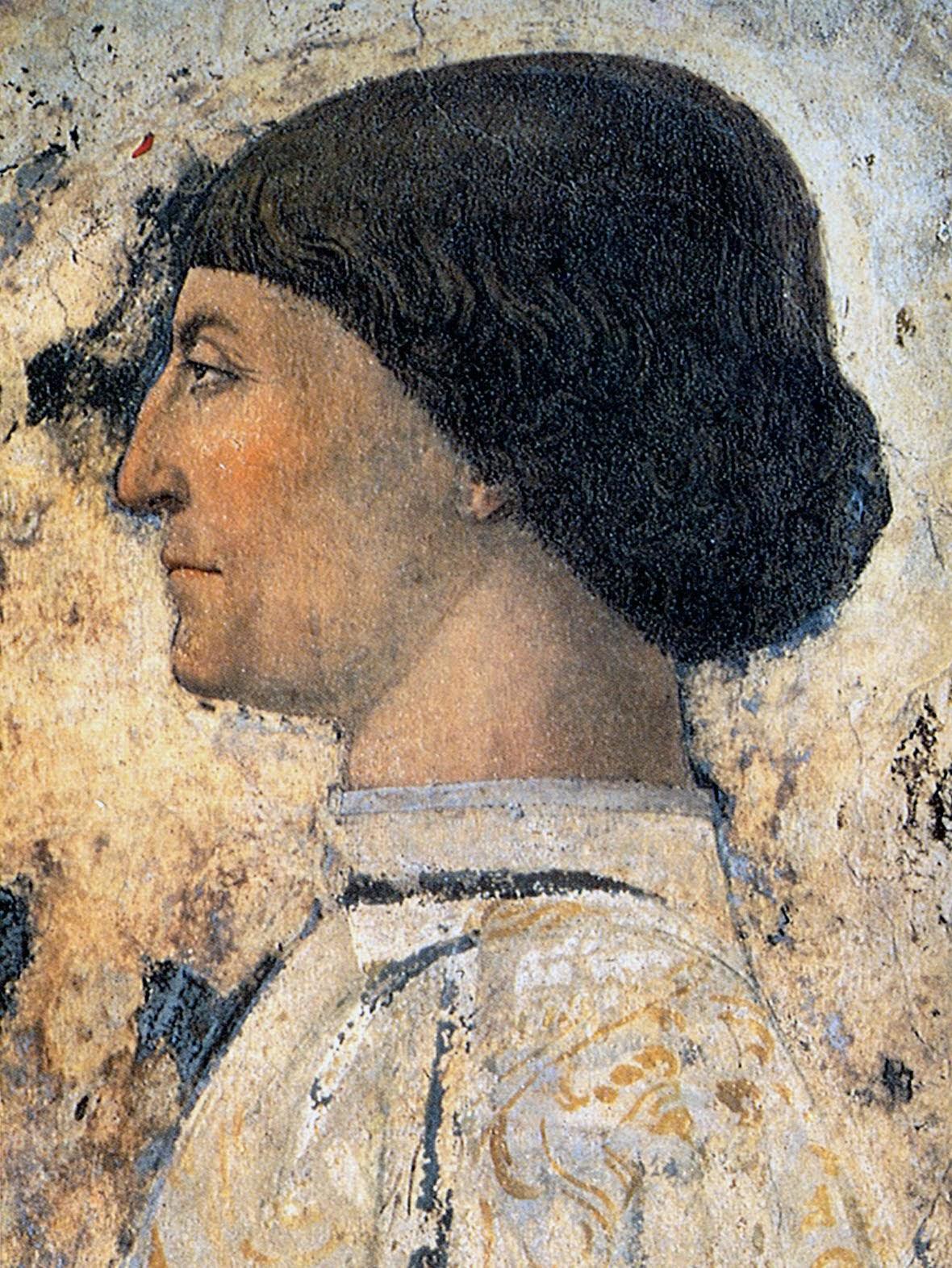 Piero della Francesca, Sigismondo Pandolfo Malatesta in preghiera davanti a san Sigismondo, 1451, particolare San Sigismondo