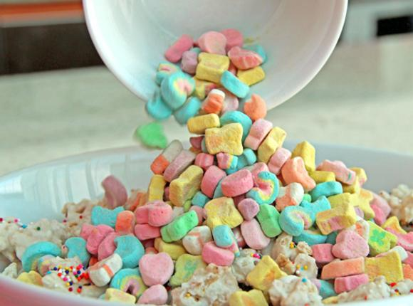 Gently break up mixture; toss in reserved marshmallows. Store in airtight container.