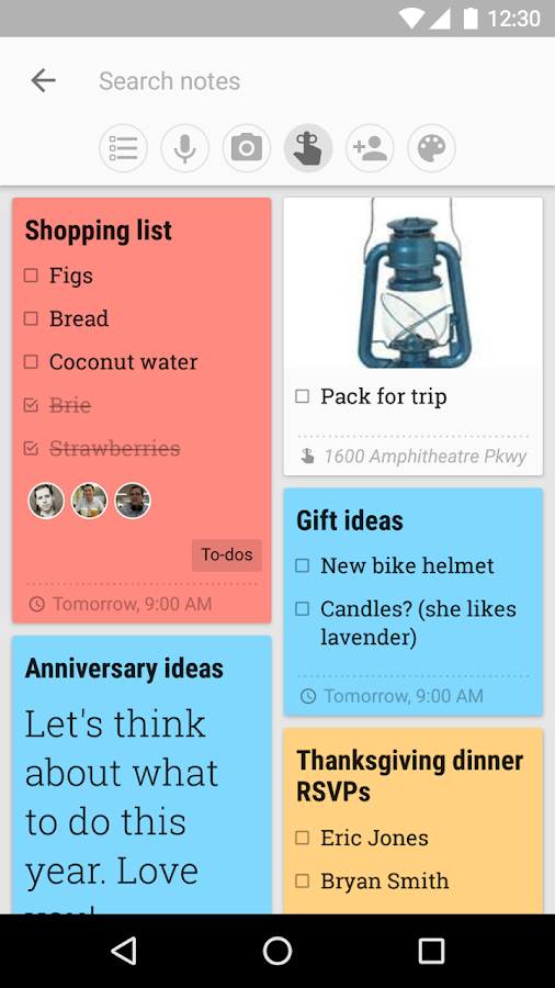 Google Keep- screenshot