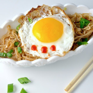 Sesame Garlic Noodles with Crispy Egg - Low Carb, Keto, Gluten-Free.