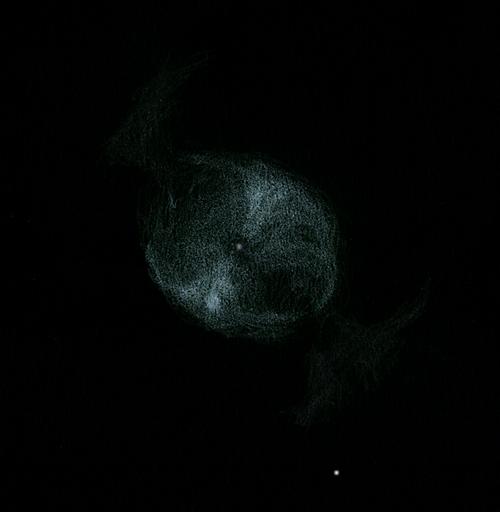 Photo: NGC 2371, dans les Gémeaux. T406 à 400X et 600X, sans filtre. Puimichel le 22/02/2012.