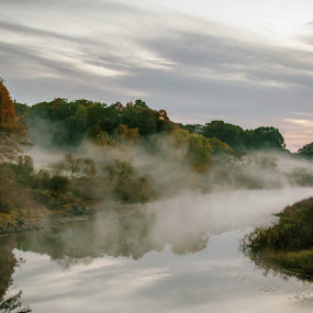 Misty Fall Morning by Robin Seaholm - Landscapes Waterscapes ( sunrise, water, trees, mist, morning, grey, red, gray, fall, leaves, new england, autumn, river )