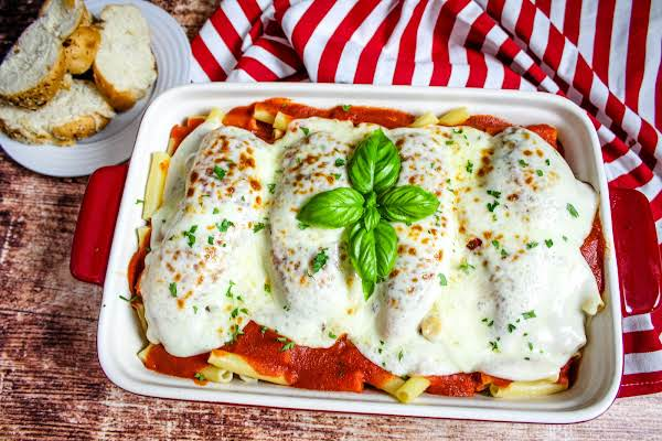 Baked Chicken With Provolone & Ziti Ready To Be Served.