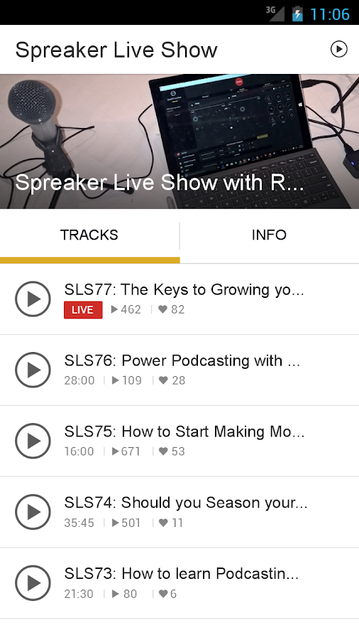 Spreaker Live Show- screenshot