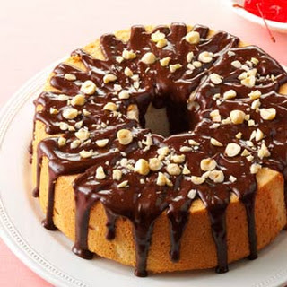 Mocha-Hazelnut Glazed Angel Food Cake