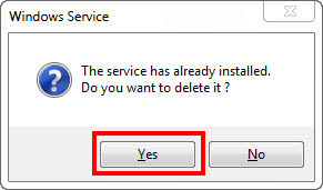 pop-up asking to delete service