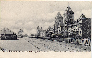 Photo: Beach Railway station & General Post office - Rajaji Salai - Madras.