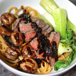 Noodles with Flank Steak, Bok Choy, and Black Bean Sauce.