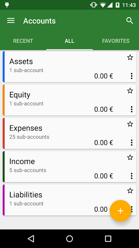 GnuCash for Android accounts