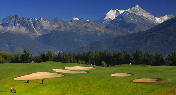 Photo: At the iconic Crans-sur-Sierre Golf Club Seve Ballesteros course in Crans Montana, Switzerland.