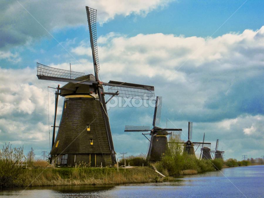 Kinderdijk - Netherlands by Fabio Ferraro - Travel Locations Landmarks ( rotterdam, kinderdijk, holland, windmills, netherlands )