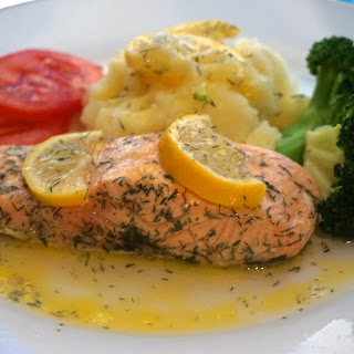 Poached Salmon Fillet With Lemon, Butter And Dill Recipe