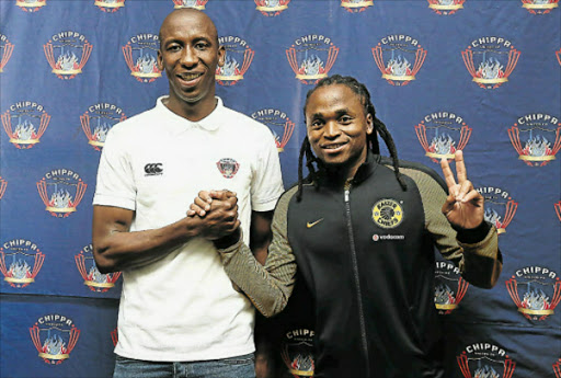 CALM BEFORE THE STORM: Chippa United's Mark Mayambela, left, and Kaizer Chiefs' vice-captain Siphiwe Tshabalala are confident their clash ast Sisa Dukashe Stadiu tomorrow afternoon will produce sparks Picture: MARK ANDREWS