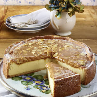 Cheesecake with Almond Caramel Topping.