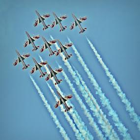 Sky Show by Alina Dinu - Transportation Airplanes ( sky, blue, airplane, event, trails )