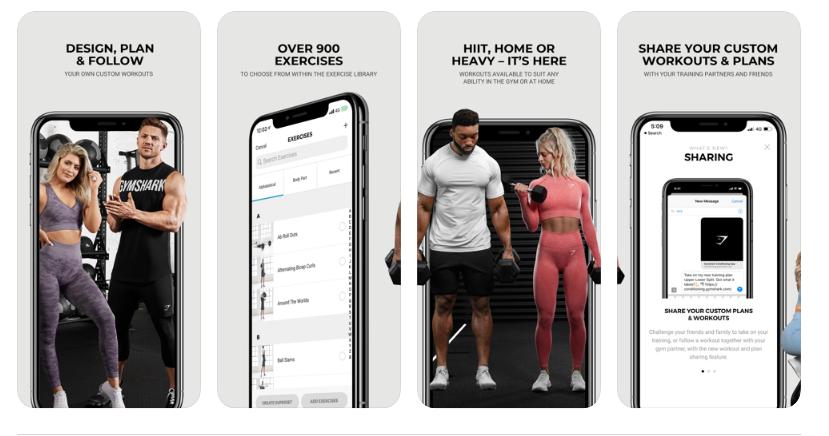Træning apps til træning derhjemme: Gymshark