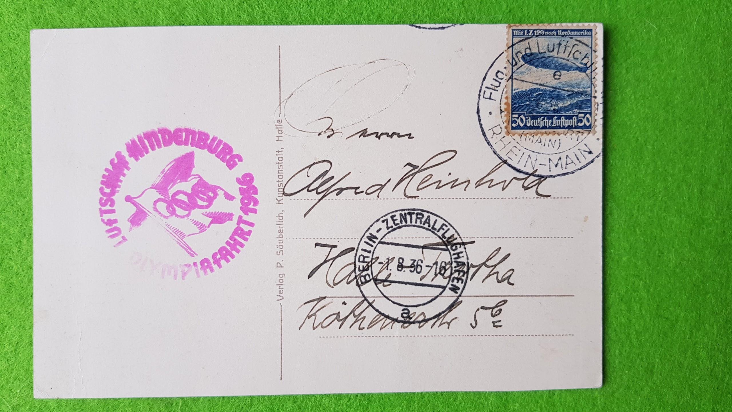 Postkarte vom Olympiaflug des LZ 129 am 1.8.1936