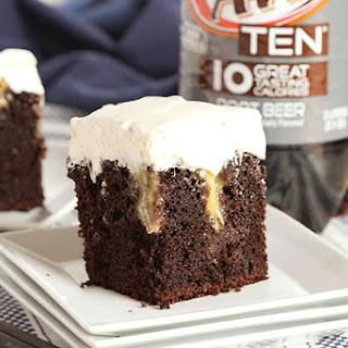Root Beer Float Poke Cake.